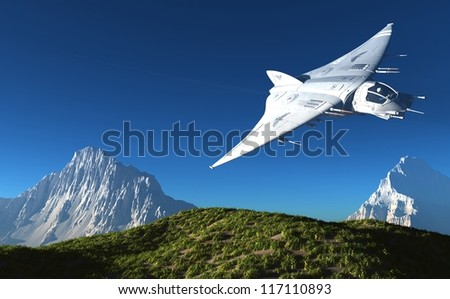 The space plane on a background of nature. - stock photo