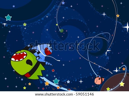 The space race (raster version) - stock photo