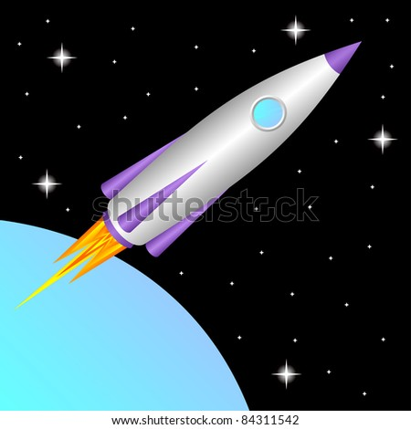 The space rocket flies in a free space.EPS version is available as ID 74912326. - stock photo