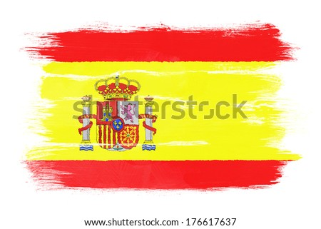 The Spanish flag painted on white paper with watercolor - stock photo