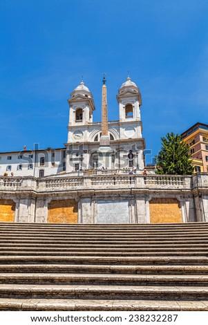 The Spanish Steps and the church of the Santissima Trinita� dei Monti - stock photo