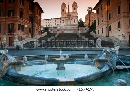The Spanish Steps in Rome. - stock photo