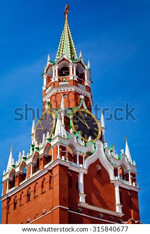 The Spasskaya Tower is the main tower with a through-passage on the eastern wall of the Moscow Kremlin situated on Red Square in Moscow, Russia - stock photo