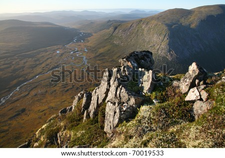 The spectacular view from the devils point in the Cairngorm mountains of Scotland. - stock photo