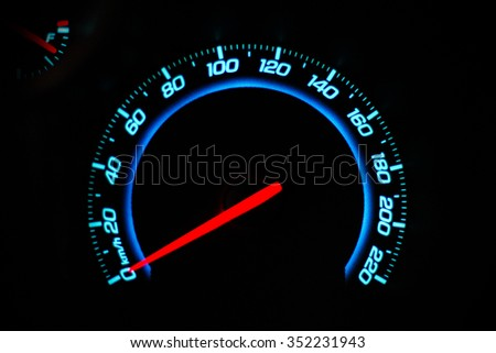 The speedometer dashboard of the car close-up - stock photo