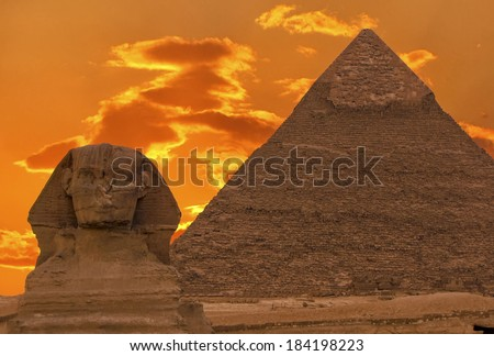 The Sphinx and Great Pyramid, Egypt - stock photo