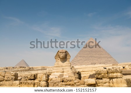 The Sphinx and Pyramid of Khafre - stock photo