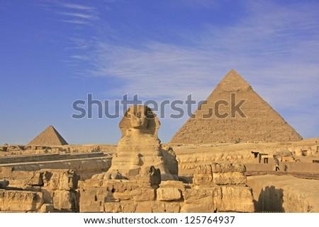 The Sphinx and Pyramid of Khafre, Cairo, Egypt - stock photo
