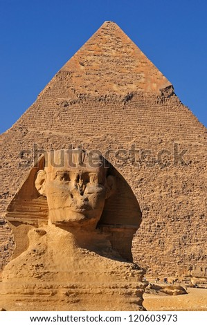 The Sphinx and Pyramids, Egypt - stock photo
