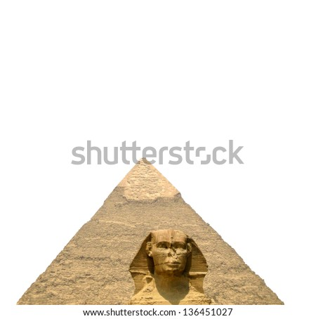 The Sphinx and the great pyramid isolated on white background - stock photo
