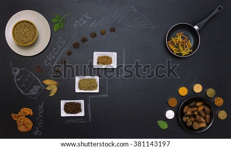 The spice mix and draw icture or text on black board for decorate project. - stock photo