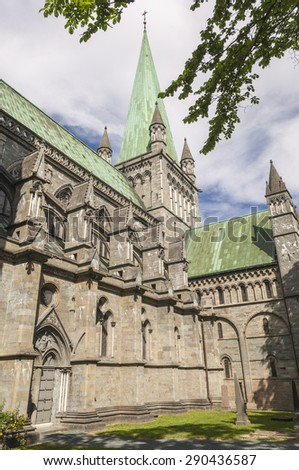 The spire of Trondheim Cathedral in Norway - stock photo