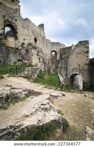The Spis Castle - Spissky hrad National Cultural Monument (UNESCO) - Spis Castle - One of the largest castle in Central Europe (Slovakia). - stock photo