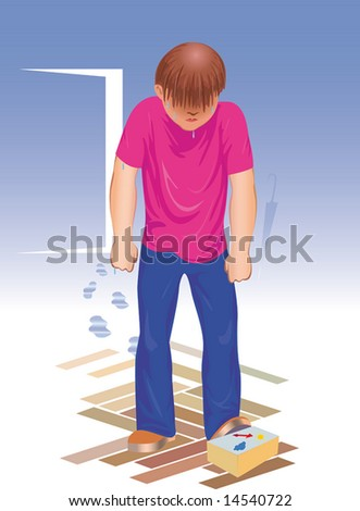 The spoiled mood. Wrong weather forecast. vector. illustration - stock photo