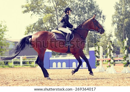 The sportswoman on a sports red horse at competitions.  - stock photo