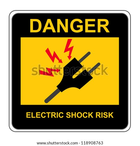 The Square Black and Yellow Danger Electric Shock Risk Sign Isolated on White Background - stock photo