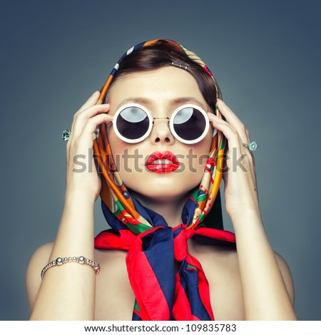 The square image of a girl in retro handkerchief - stock photo