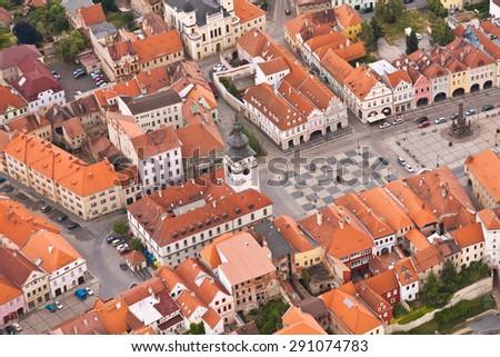 the square of city Zatec - Czech Republic - Europe - stock photo