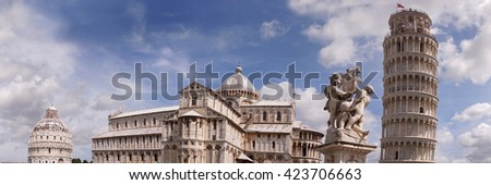 The Square of Miracles, Pisa Cathedral and Leaning Tower of Pisa, Pisa, Italy - stock photo