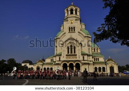 The St. Alexander Nevsky Patriarchal Cathedral, Sofia Bulgaria - stock photo
