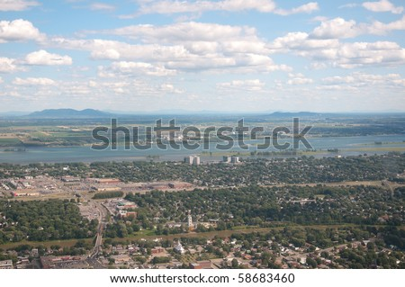 The St-Lawrence river in Montreal.  Shot at 1,000 feet. - stock photo
