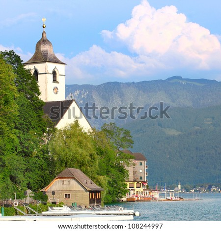 The St. Wolfgang City over a Wolfgangsee Lake. Beautiful medieval city in Salzkammergut. Austria, Europe. - stock photo