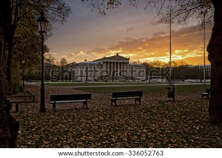 "The ""Staatliche Antikensammlung"" building at the historic Koenigsplatz square in Munich, Germany, in autumn - stock photo"