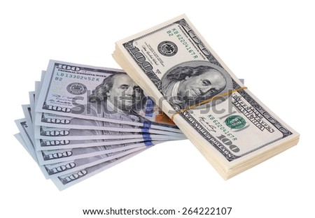 The stack is 100 dollar bills USD and a few new banknotes, isolated on white background - stock photo