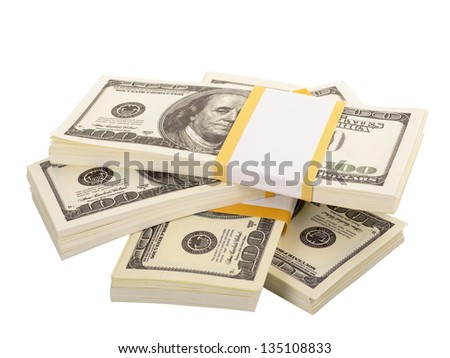 The stack of dollars isolated on a white background - stock photo