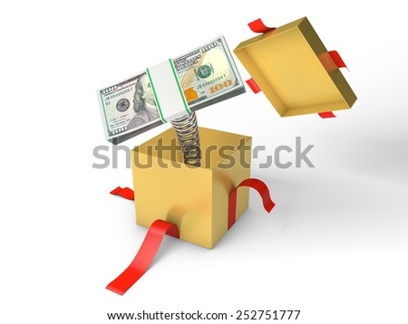 The stack of money jumps out of a gift box on a spring - stock photo