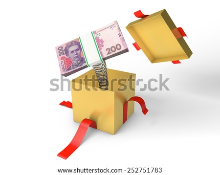 The stack of ukrainian money jumps out of a gift box on a spring - stock photo