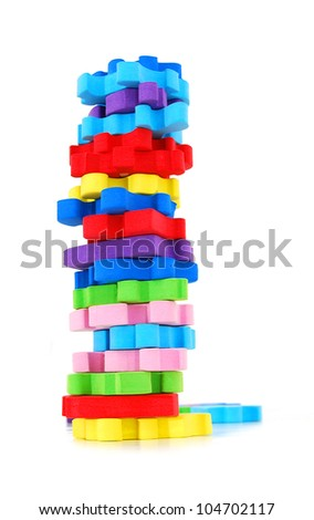 the stacking puzzle foam - stock photo