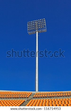The Stadium Spot-light tower over Blue Sky, Nakhonratchasima, Thailand. - stock photo