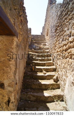 The staircase in the villa at Pompeii, which led to the second floor of the house - stock photo