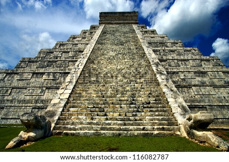 the stairs of chichen itza temple - stock photo