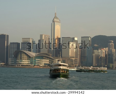 The Star Ferry in Victoria Harbor, Hong Kong - stock photo