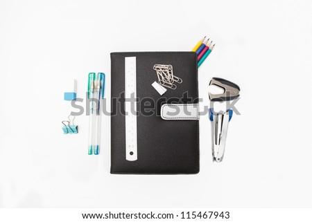 The stationery on white background. - stock photo