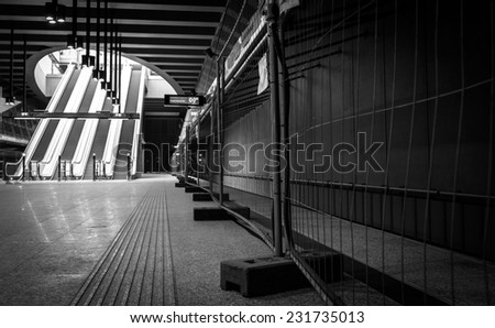 The stations of the under construction subway - stock photo