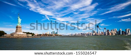 The Statue of Liberty at New York City and New Jersey - stock photo