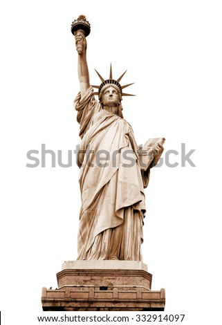 The Statue of Liberty in retro colours, New York, USA (with clipping path) - stock photo