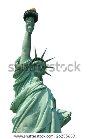 The Statue of Liberty, Isolated on White - stock photo