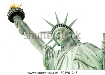 The Statue of Liberty isolated on white, New York City, July 2015 - stock photo