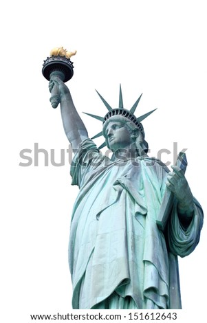 The Statue of Liberty on Liberty Island in New York City - stock photo