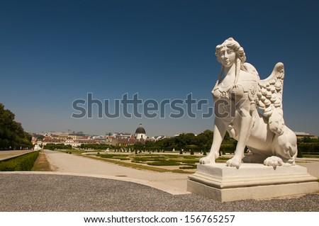 The statue of Sphinx in the Belvedere, historic building complex in Vienna, Austria - stock photo