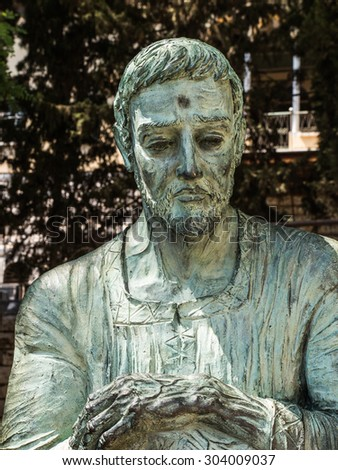 the statue of St.. Joseph, guardian of Jesus, between the sanctuary of St. Joseph and the Basilica of the Annunciation, Israel - stock photo