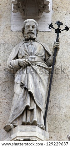 The statue of St. Joseph on the facade of the Zagreb Cathedral - stock photo