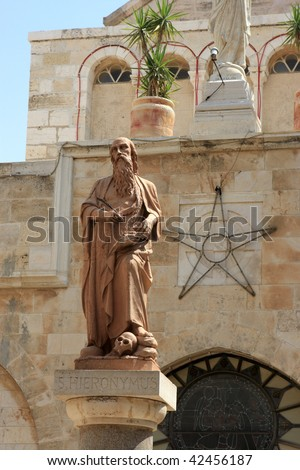 The statues of St. Jerome in Bethlehem - stock photo