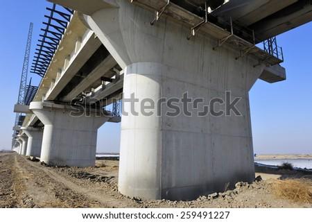 The steel structure of railway bridge  - stock photo