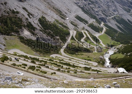 The Stelvio Pass, mountain pass in northern Italy, at an elevation of 2,757 m (9,045 ft) above sea level. It is the highest paved mountain pass in the Eastern Alps - stock photo