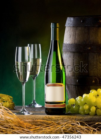 the still life with white wine and cluster - stock photo